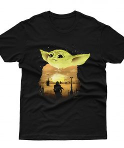 Baby Yoda Sunset T shirt