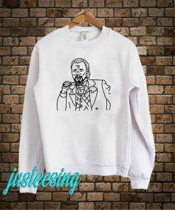Laughing Leo Drinking Wine Outline Sweatshirt